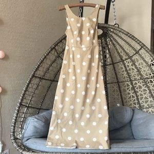 Topshop Tan Polka Dot Fitted Midi Dress